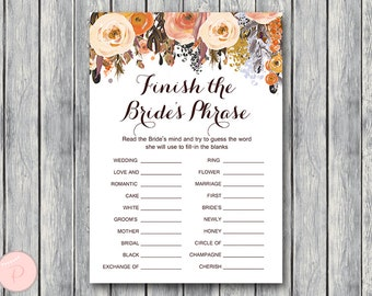 Fall Autumn Finish the Bride's phrase game, Complete the phrase , Bridal shower game, Bridal shower activity, Printable Game wd82 TH40