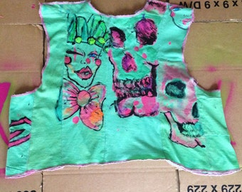 Green Graffiti Style Painted Crop Top.