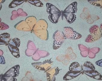 New! One Yard of Buttercream Mint Butterflies 100% Cotton Quilt Fabric