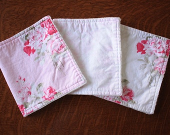 Pink Floral burp cloths - Baby girl burp cloths - Shabby chic burp cloths - Baby girl gift