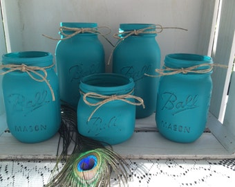 Set of 5 teal painted mason jars