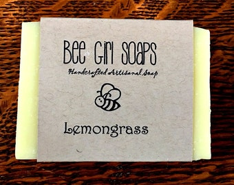 Lemongrass Artisanal Handmade Soap Cold Processed Natural Soap Made With Olive Oil Beeswax