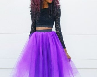 Tulle Midi Skirt (Several Colors) with BLACK Elastic Band  XS - 6XL Plus Size