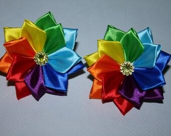 Pair of Handmade Girl's Flower hair bobbles-rainbow/Easter- FREE UK DELIVERY