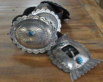 Vintage Navajo Sterling Silver and Bisbee Turquoise Concho Belt
