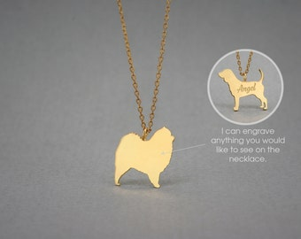 14K Solid GOLD Tiny CHOW CHOW Name Necklace - Chow Chow Necklace -Gold Dog Necklace - 14K Gold or Rose Plated on 14k Gold Necklace