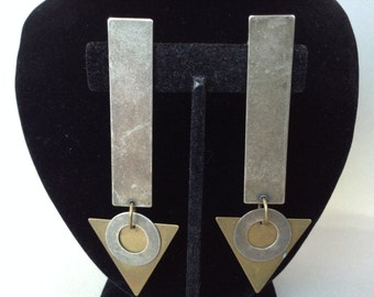 Susan L Richardson Mixed Metal Dangle Pierced Earrings