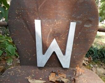 Letter W, Vintage Sign Letters, Metal Letters, Aluminum Letters, Vintage Letter W, Industrial Advertising Signage
