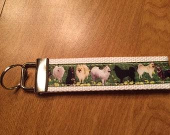 White Pomeranian Cotton Webbing Keychain/ Keyfob/ Wristlet