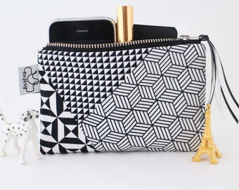Zipper pouch,Coin purse,Zippered black and white pouch,Teen coin purse,Geometric Original ANJESY Designs.