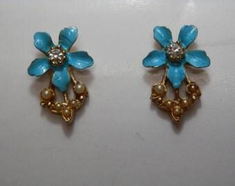 Vintage Enamel Seed Pearl Converted Earrings