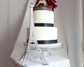 "13"" Silver Paris Eiffel Tower Cake Topper, Madeline, France, Centerpiece, Parisina Decoration, 13 inch, OverTheTopCakeTopper"