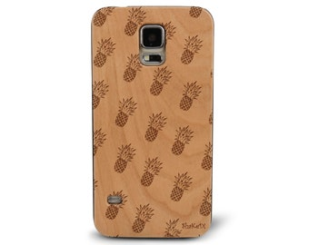 Laser Engraved Hand Drawn Summer Tropical Pineapple Pattern Doodle Inspired on Genuine Wood phone Case for Galaxy S5, S6 and S6Edge S-009
