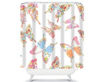 Shabby Chic Shower Curtain, Butterfly Shower Curtain, Butterfly Bathroom,  Shabby Chic Bathroom Decor