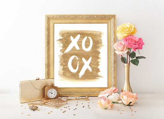 Gold XoXo Hugs and Kisses. Art print, wall golden XOXO Gold letters handwriting Art Love Home Decor Girl, golden prints xoxo hugs and kisses