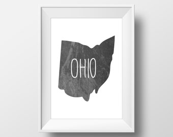 Ohio State Black Chalkboard Printable Art, Ohio Print, Ohio Art, Modern Art,