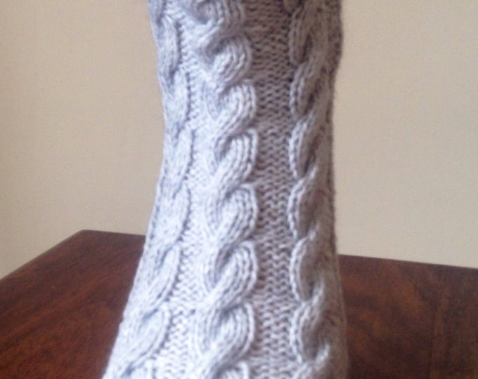 Ladies pale grey pure cashmere handmade bed socks by Willow Luxury - (to fit ladies shoe sizes UK 7-8, US 9-10, European 40-41)