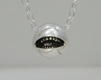 "smile jewelry necklace pendant sterling silver ball "" open anti smile pendant S "" s_m-P.65"