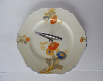 Art deco cake stand / serving plate, single tier