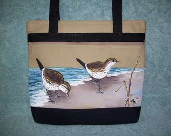 Handpainted tan and black Sandpiper handbag