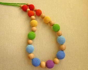"Teething necklace/ Nursing necklace/ Breastfeeding necklace / Babywearing necklace ""Rainbow"""