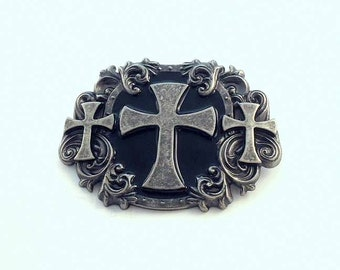 Enamel On Pewter Celtic Cross Belt Buckle