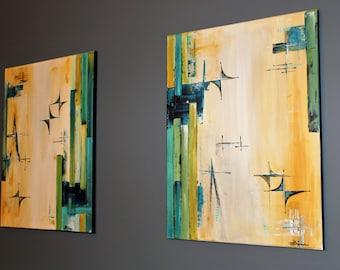 Mid-century modern twin paintings