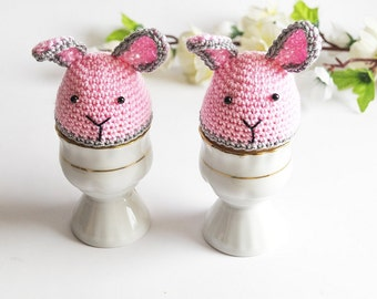 Pair of Crochet Bunny Egg Cozies, Easter Egg Warmers, Handmade Holiday Decor