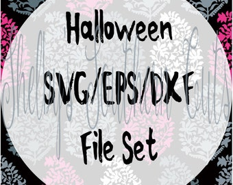25 Halloween Files Set SVG EPS DXF Cricut files, Silhouette, witch, pumpkin, scary, cute