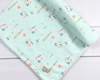 Personalized Baby Girl Blanket - Mint baby blanket - New baby gift - Floral Baby Blanket - Mint and gold baby blanket- Floral nursery decor