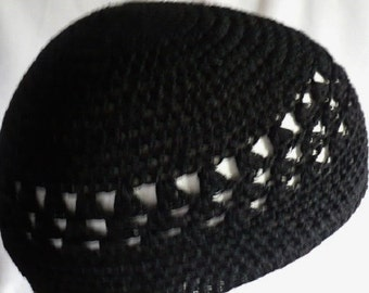 Black 100% Mercerized Cotton Crochet Thread Kufi-For The Summer Months To Keep Ones Dome Cool, Dry And Protected