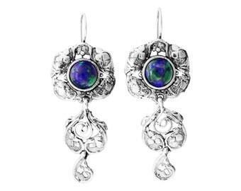 Turquoise Earrings, Silver Earrings, Briolette Earrings, Dangle Victorian Earrings, Drop earrings , Long Earrings, A30835, handmade