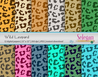 Wild Leopard, Digital Paper, Scrapbooking, Paper, 12x12, Printable, Pattern, African, Wild, Animal, Leopard, Texture, Background