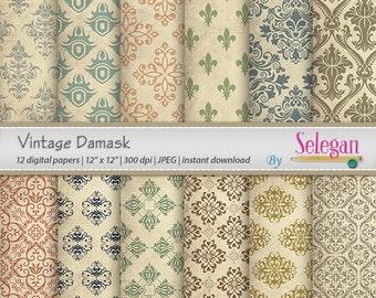 """vintage patterns """" Vintage Damask """" digital scrapbooking papers patterns vintage retro damask background download"""