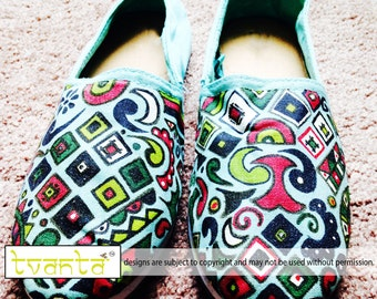Handpainted Abstract Print Women's Slip Ons Size 8