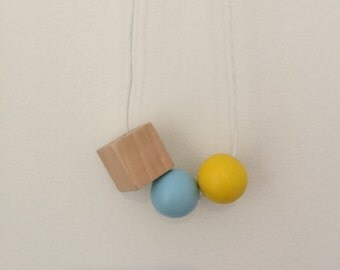 Wooden bead necklace // Geometric and square wooden beads //hand painted yellow and blue