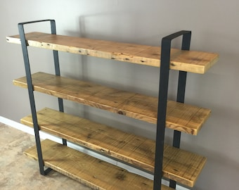 "Reclaimed Wood Shelf/Shelving Unit with 4 Shelfs-industrial Urban look with 2"" flat Steel"