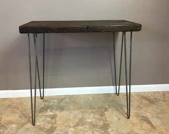 Entry Table, Wood Console Table Reclaimed Wood Hairpin Legs, Chic