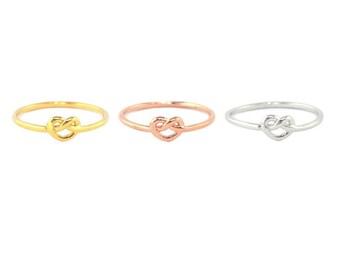 Love Knot Ring,  Pretzel Ring, Gold, Silver, Rose Gold Rings