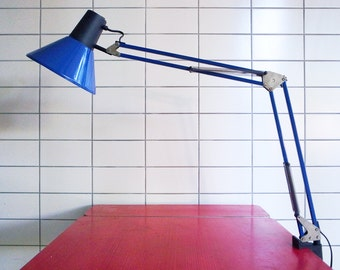 Vintage Architect Anglepoise Clamp Desk Lamp in Cobalt Blue and Black Modern Industrial