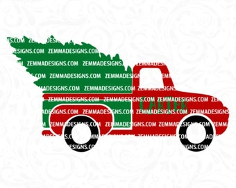 Christmas truck svg -truck svg - Christmas tree svg - tree truck svg - boy svg files - old truck svg - .SVG .EPS ,DXF - Zemma Designs