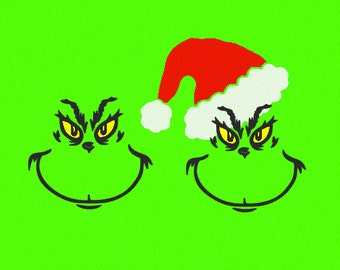 Grinch Face Silhouette grinch svg file – etsy