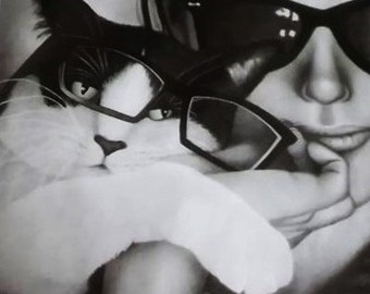 Original drawing  Cat with Glasses