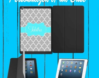 iPad Case iPad mini Case iPad Air Case Monogram iPad Case Monogram iPad Mini Case Monogram Grey Lattice Teal