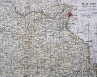 1903 SOUTH MISSOURI Original Large Antique Map - Wall Map - Home Decor - Cartography - 11 x 16 Inches - Detailed Map - Geography