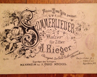 Antique Zither Sheet Music, Sommerlieder Walzer for Zither by A. Rieger