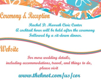 Sand Dollar and Star Fish Wedding Ceremony Information Card