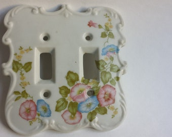 Ceramic Morning Glory Light Switchplate, Vintage 1980's Switchplate, Childrens Room Decor,   #4