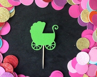 12pcs Glitter Baby Car Cupcake Toppers ( More Color )