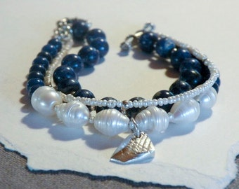 Lapis and freshwater pearls